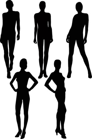 persona: black silhouettes girl in miscellaneous pose on white background