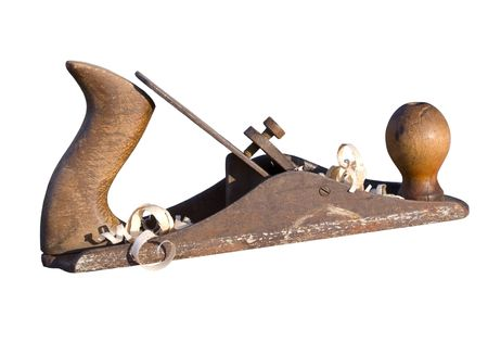 old instrument of the joiner, is insulated on white background photo