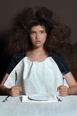 messed: Nice model with messed hair in restaurant