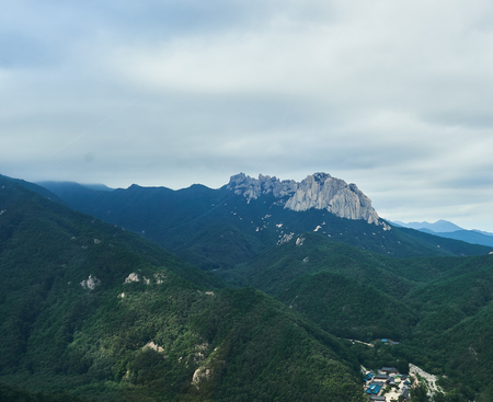 View of Mt. Seolark and Shin-Heung Temple is located at the Gwon-Geom-Sung in South Korea.