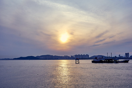 The sunset view of sea at Incheon, South Korea.