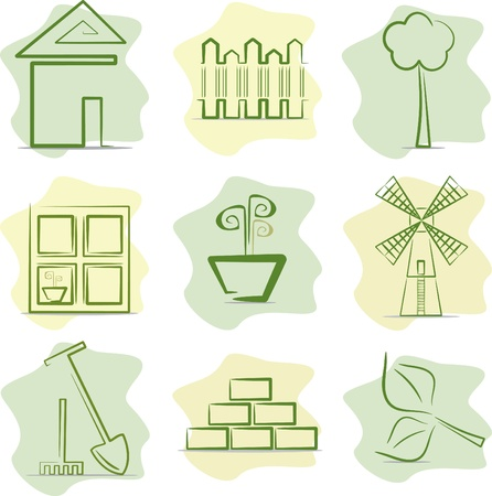 Contryside life and gardening (icons). Vector