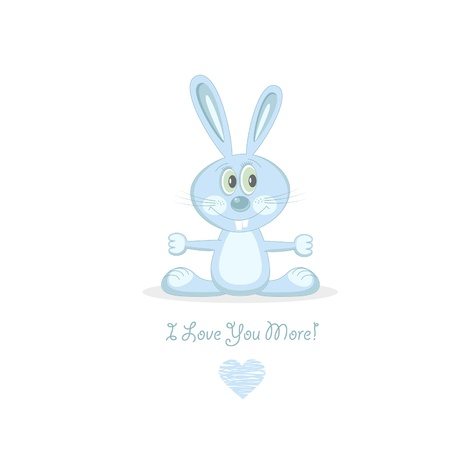 plush: Blue love rabbit. Illustration