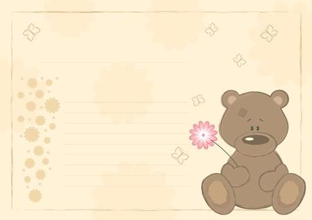 Teddy bear with flower (postcard). Vector
