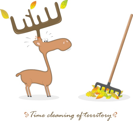 Funny elk and a rake, vector illustration Vector