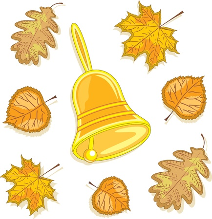 aspen: A bell and autumn leaves, vector illustration Illustration