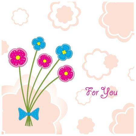 Postcard Five plasticine flowers Illustration