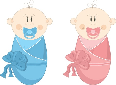 maternity: Two baby in diapers with pacifiers, vector illustration Illustration