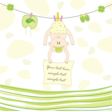 Baby on the rope for drying, vector illustration  Vector