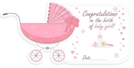 Stroller for baby girl, vector illustration Vector