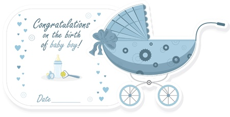 cradle: Stroller for baby boy, vector illustration Illustration