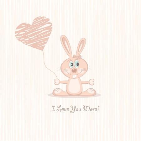 declaracion de amor: Rosa amor conejo (postal), ilustraci�n vectorial