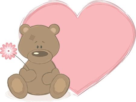 teddy bear vector: Teddy bear and big heart, vector illustration