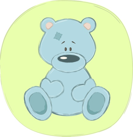 green day baby blue background: Blue teddy bear (sticker), vector illustration