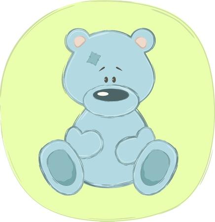 Blue teddy bear (sticker), vector illustration