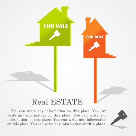 real estate background: Signboards of homes (sale and rent).
