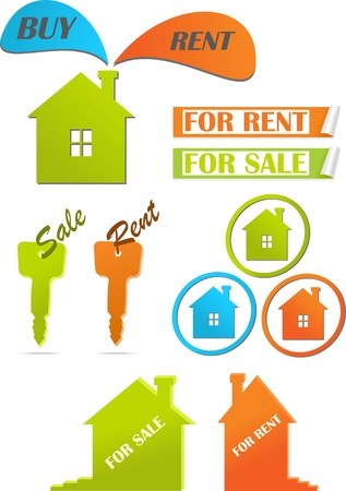 Icons and stickers for real estate. Stock Vector - 10535869