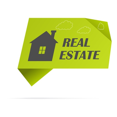 housing estate: Green paper sticker with home. Illustration