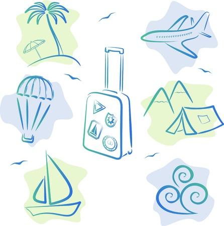 Reizen en toerisme pictogrammen, vector illustratie Vector Illustratie