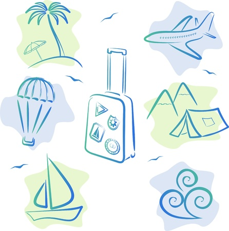 parachute: Travel and tourism Icons, vector illustration