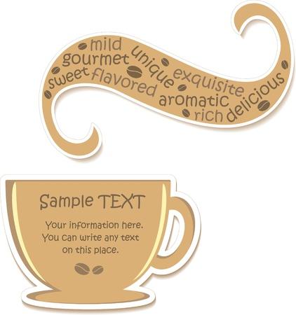 granos de cafe: Taza de caf� con sabor (etiqueta), ilustraci�n vectorial