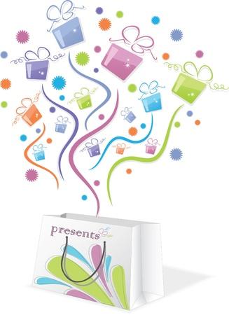 cadeaupapier: Kleurrijke geschenken uit de verpakking Stock Illustratie