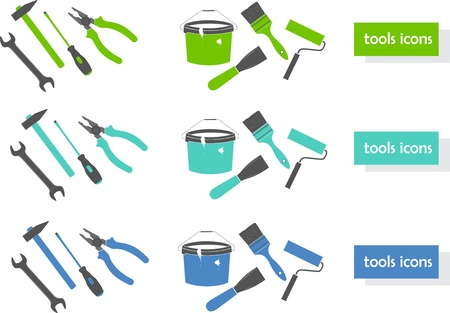 roller brush: Set of tools icons (three colors)