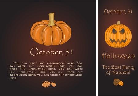 Banners of Halloween pumpkin Stock Vector - 10985496