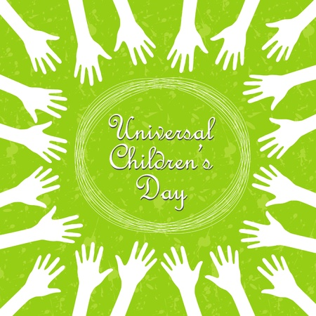 Hands around the text, universal childrens day Vector