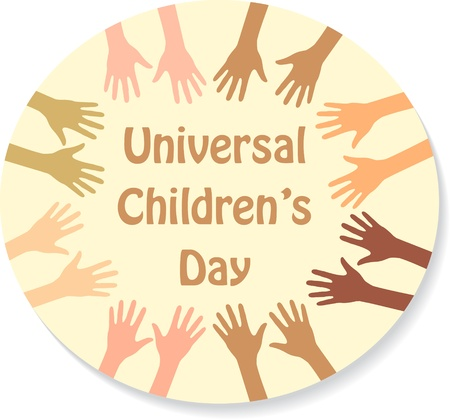 Color hands around the text (sticker), universal childrens day Vector
