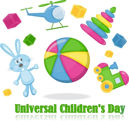 kindergarten toys: Different toys around the ball, universal childrens day