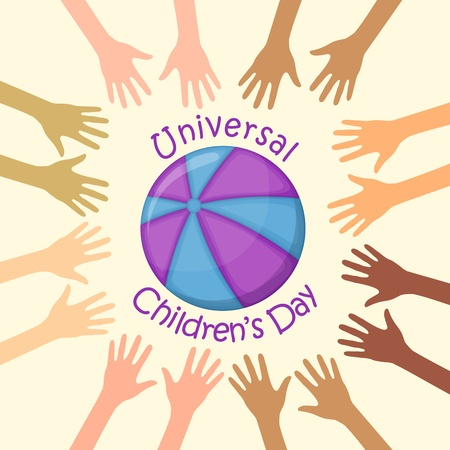 hands in the air: Color hands around the ball, universal childrens day Illustration