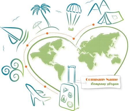 world travel: Travel around the world Illustration