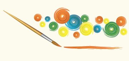 art palette: Wooden brush and strokes