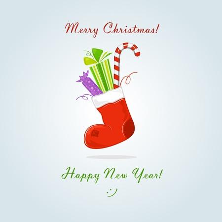 christmas sock: Calza di Natale con regalo e dolciumi