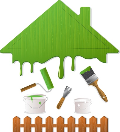 Green roof and painting tools Stock Vector - 11298014