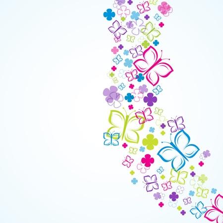 papillon rose: Fleurs et papillons (fond) Illustration