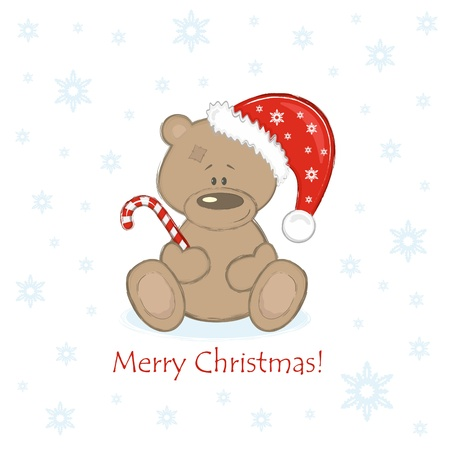 Christmas Teddy Bear in the red bell with sweet Stock Vector - 11298016