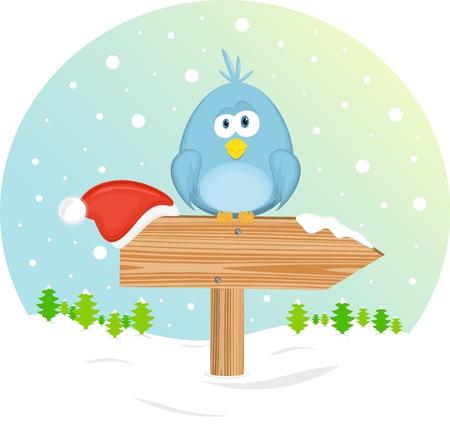designator: Blue bird on the waymark, vector illustration