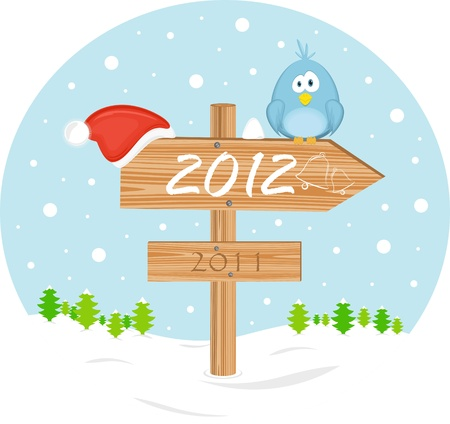 Pointer 2012 with christmas hat and bird Vector