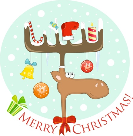 Funny Elk with Christmas decoration on the antlers Vector