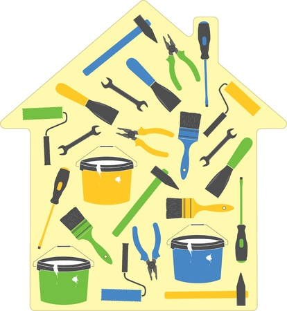 yard work: House tools (icons), vector illustration Illustration