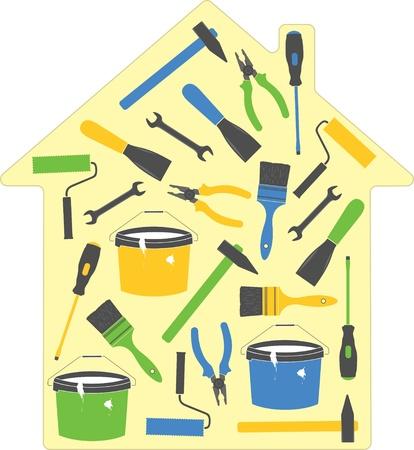 Maison d'outils (icônes), illustration vectorielle