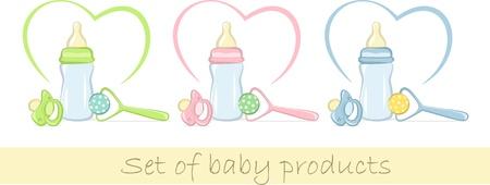 Set de productos para bebés en colores suaves, ilustración vectorial