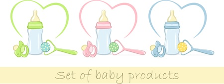 soother: Set of baby products in gentle colors, vector illustration