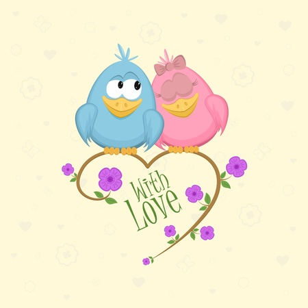 love cartoon: Love birds on the branch, vector illustration Illustration