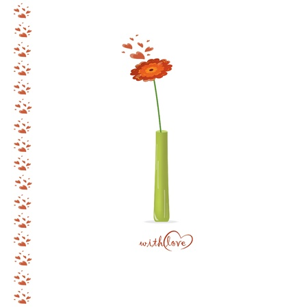compliments: Red flower in the vase, vector illustration