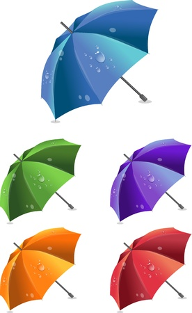 colection: Set of colorful umbrellas, vector illustration Illustration