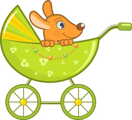 pram: Baby animal in the stroller, illustration