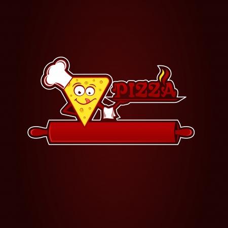 Hunk of pizza, logotype for pizzeria. Vector Illustration. Illustration